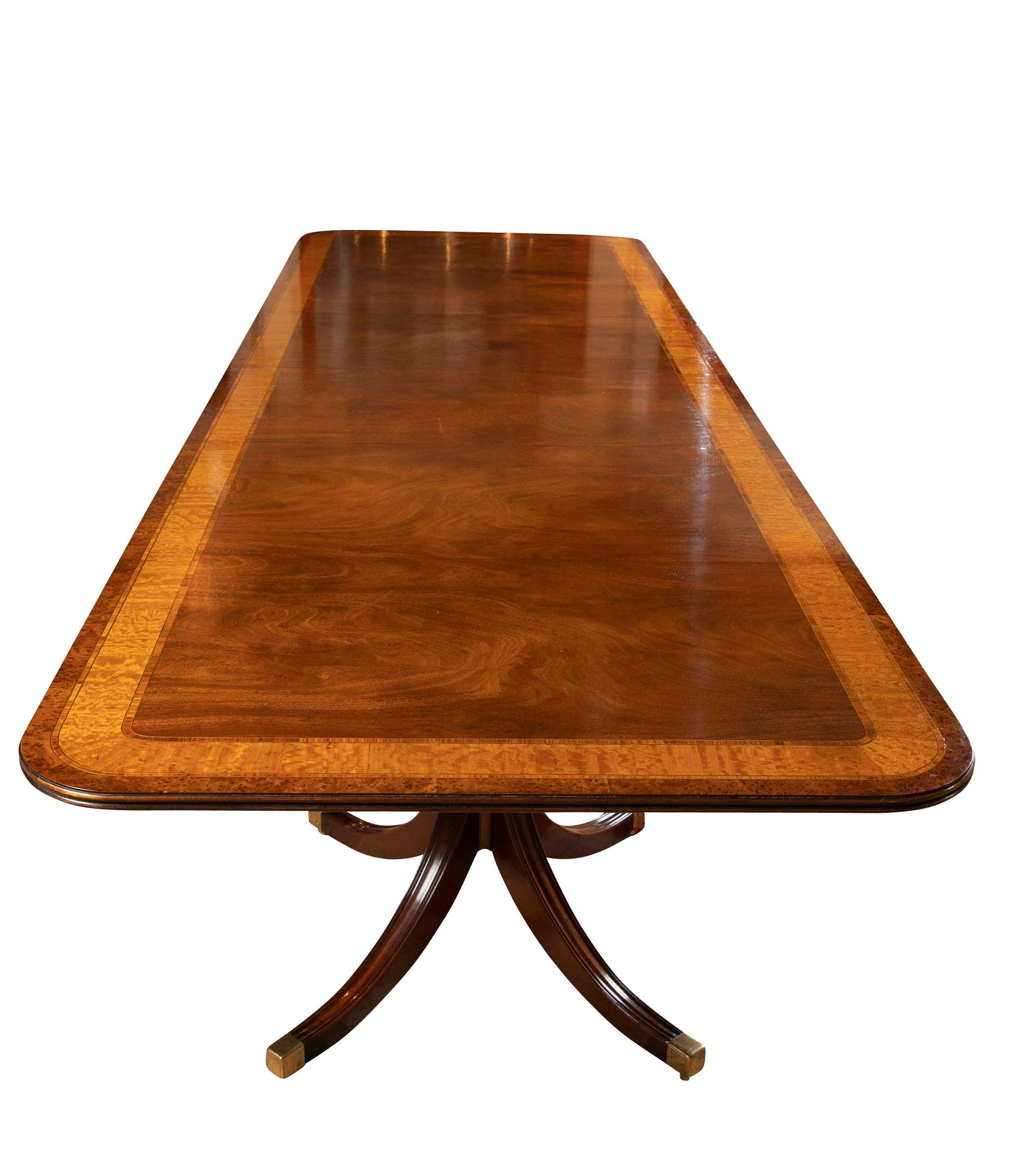 Sheraton Style Double Pedestal Mahogany Dining Table with Satinwood Banding
