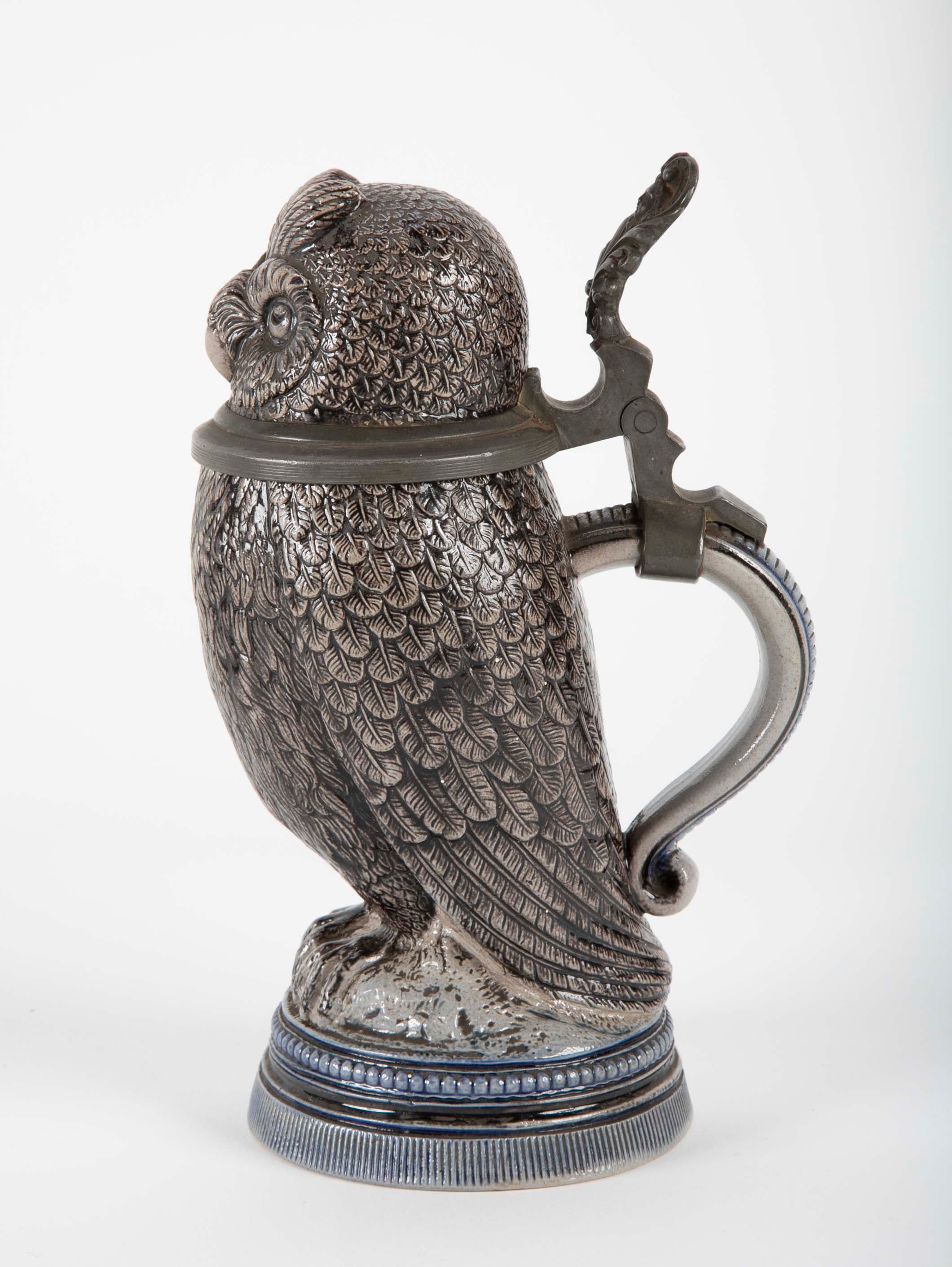 Glazed Ceramic Owl Form Tankard with Pewter Mounts