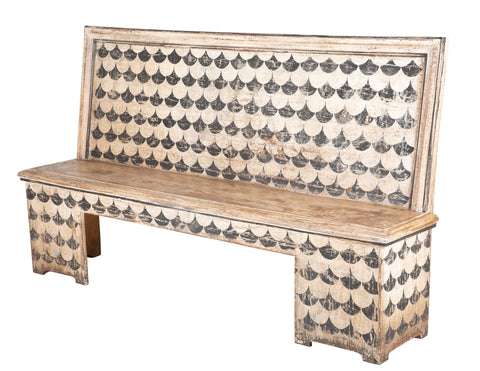 Pair of Stenciled Black and White Italian Wood Benches
