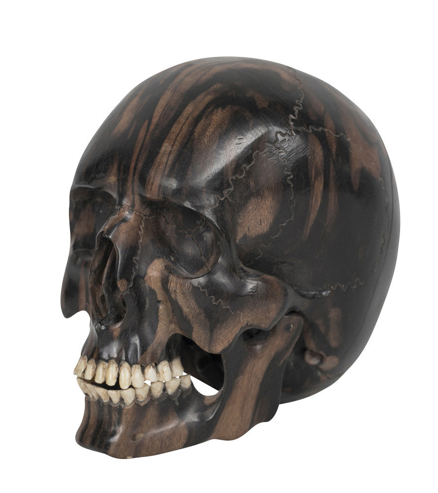 Contemporary hand carved wooden skull u avery dash collections