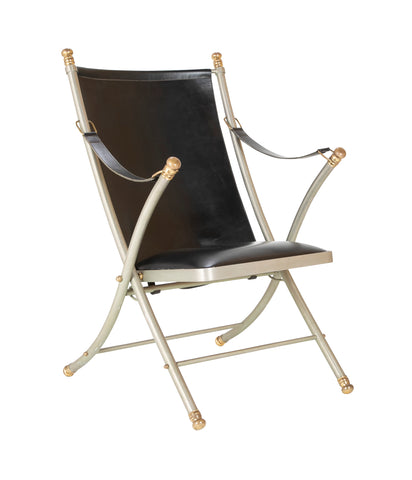 Maison Jansen Brushed Steel, Bronze & Black Leather Campaign Chair