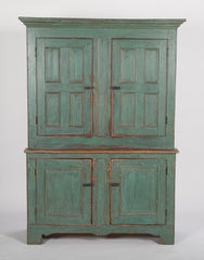 Handsome Early American Stepback Cupboard in Blue Paint