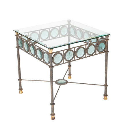 Steel, Brass and Hand Blown Glass Side Table