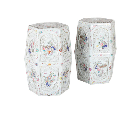 A Pair of Chinese 19th Century Famille Rose on White Garden Seats