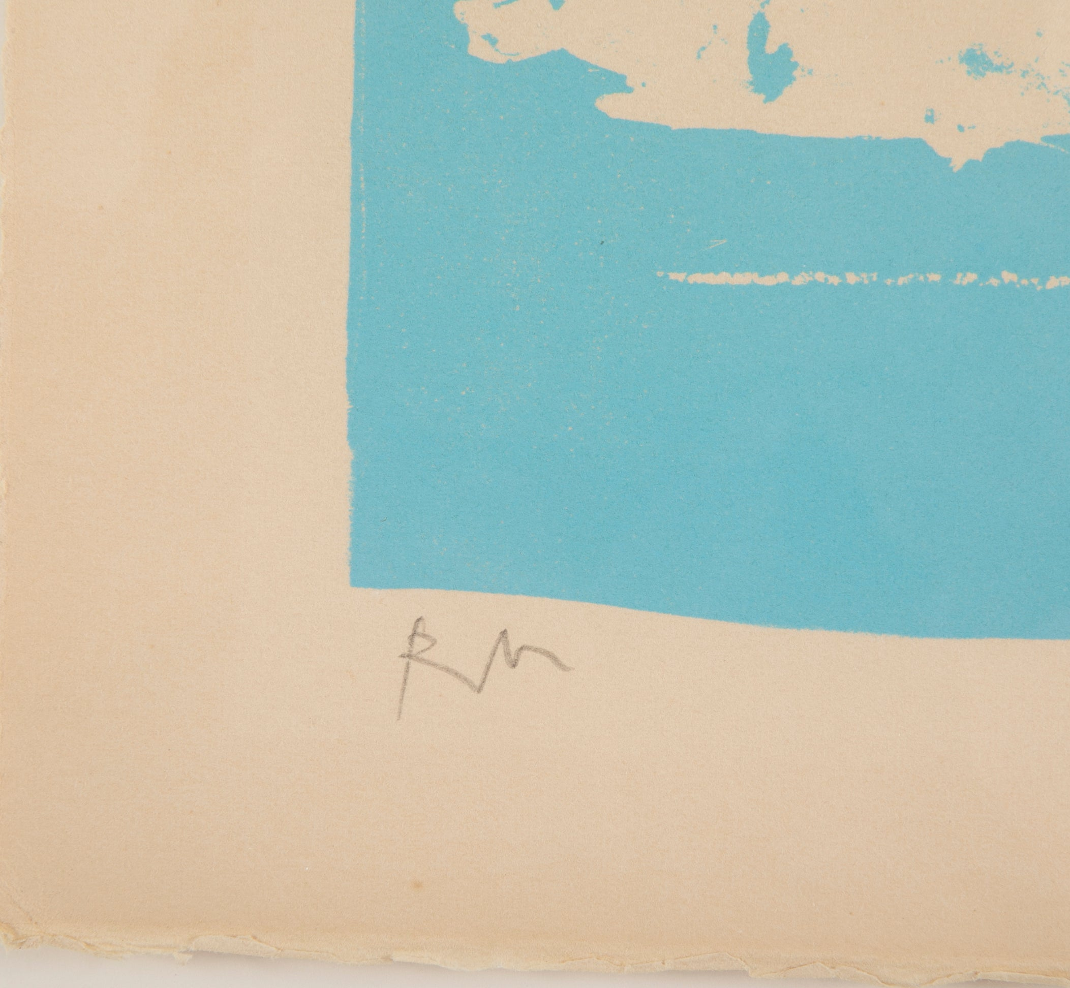 Robert Motherwell Lithograph in Blue on Buff Arches Cover Paper