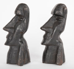 20th Century Cast Iron Andirons in the Form of the Easter Islands Stone Statues