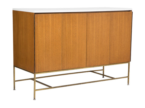 Sideboard Designed by Paul McCobb with Tubular Brass Base and Milk Glass Top