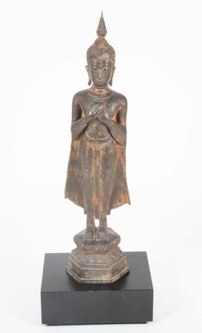 19th Century Metal Standing Buddha from Thailand