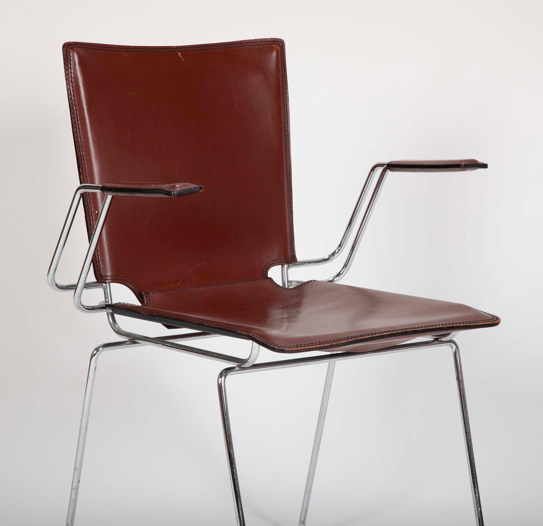 Pair of Red/Brown Leather and Metal Frame Chairs