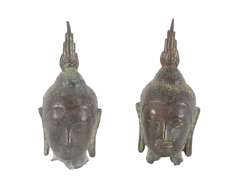 Pair of Early 19th Century Bronze Buddha Heads