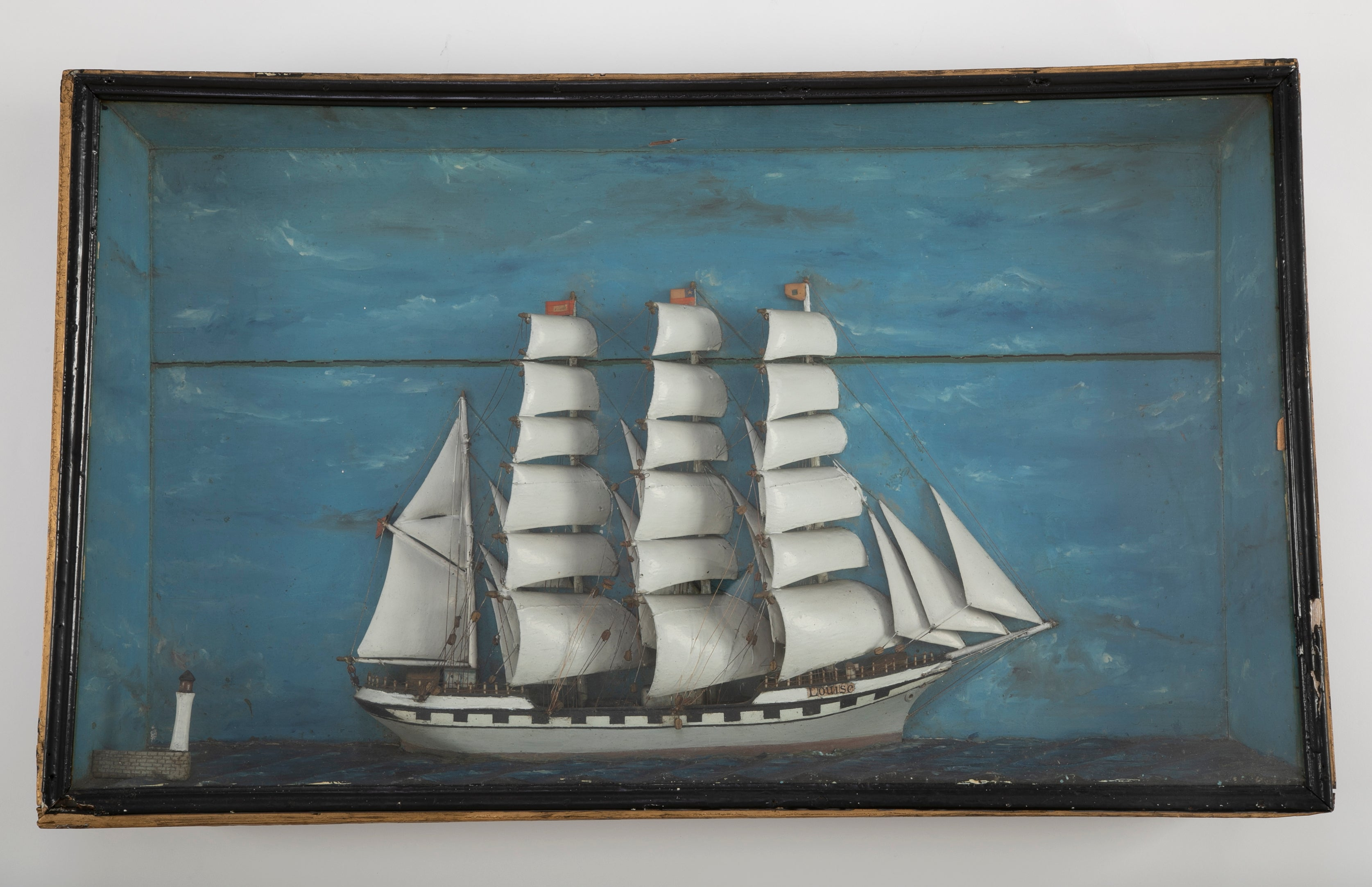 """Louise"" a 19th Century French Ship Diorama Shadow Box"