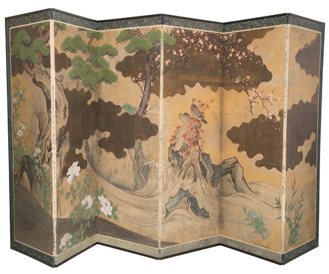 Japanese Hand-Painted Screen