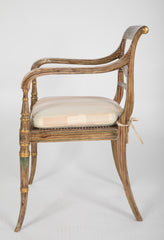 Pair of English Regency Painted Armchairs
