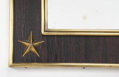 A Jacques Adnet Mirror Having Brass Stars in the Frame