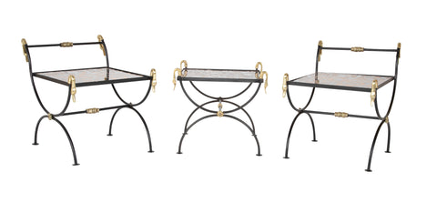 Three Piece Iron and Brass Coffee Table with Versace Insets