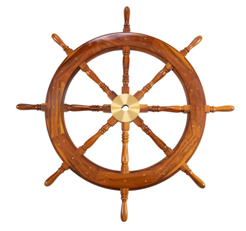 A Large Wooden Ship's Wheel with Brass Accents