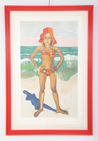 """Bather in Red Hat"" Lithograph by American Artist Alice Neel"