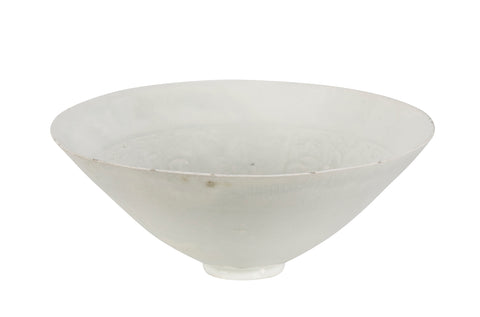 Chinese Conical White Glazed Ceramic Bowl