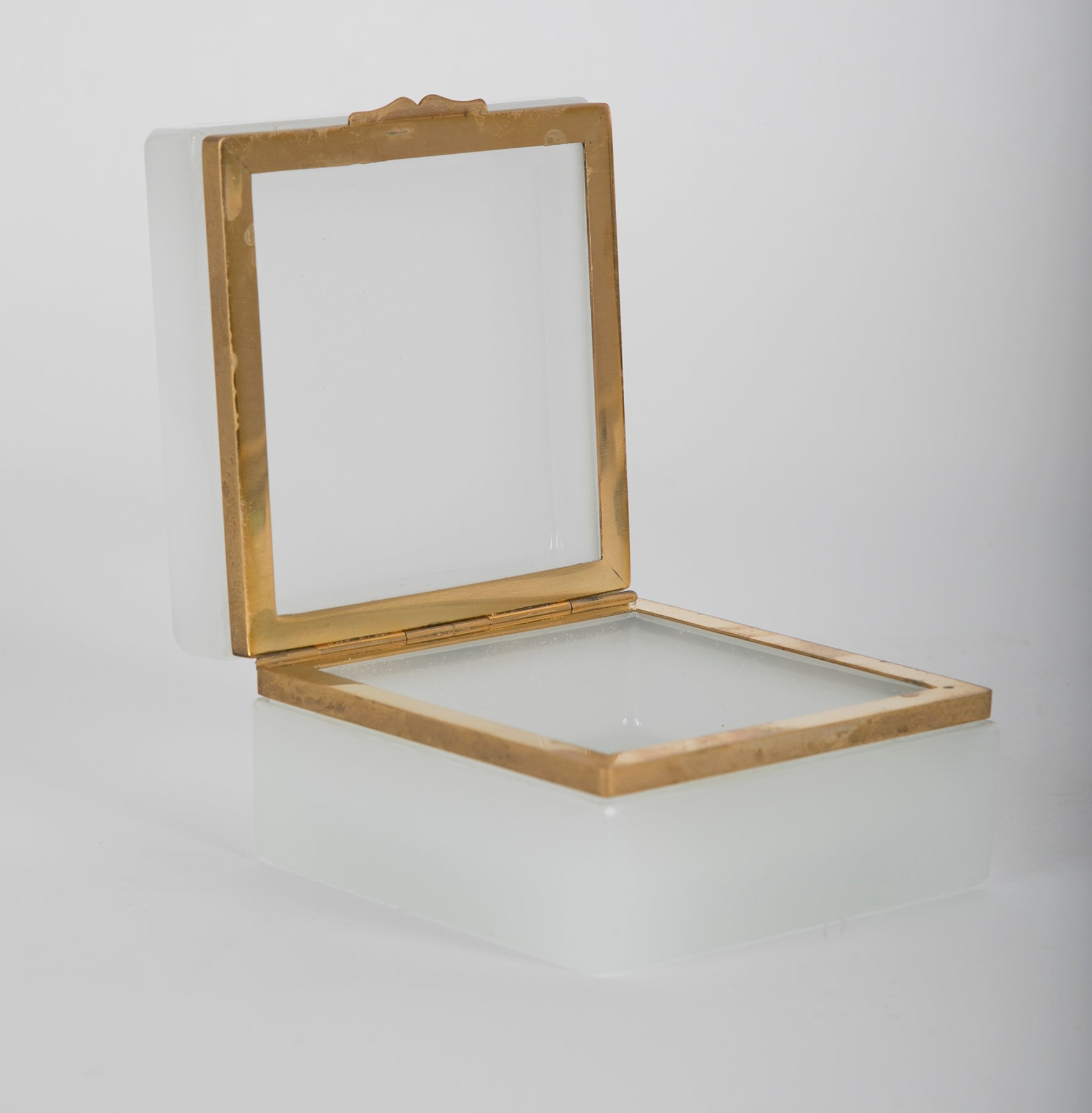 Vintage White Opaline Square Shaped Glass Box