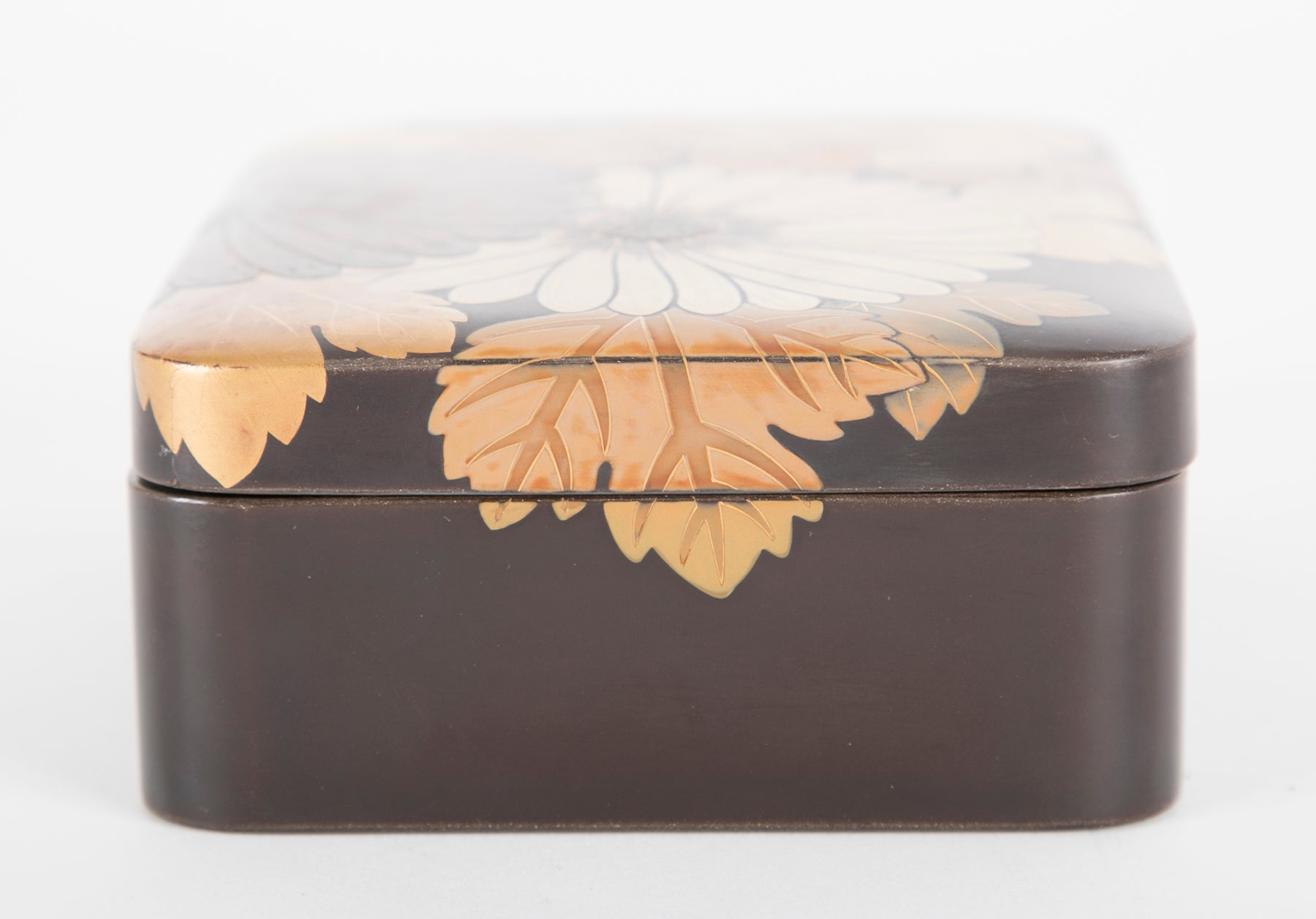 Japanese Black Lacquer Box with Silver Inlay