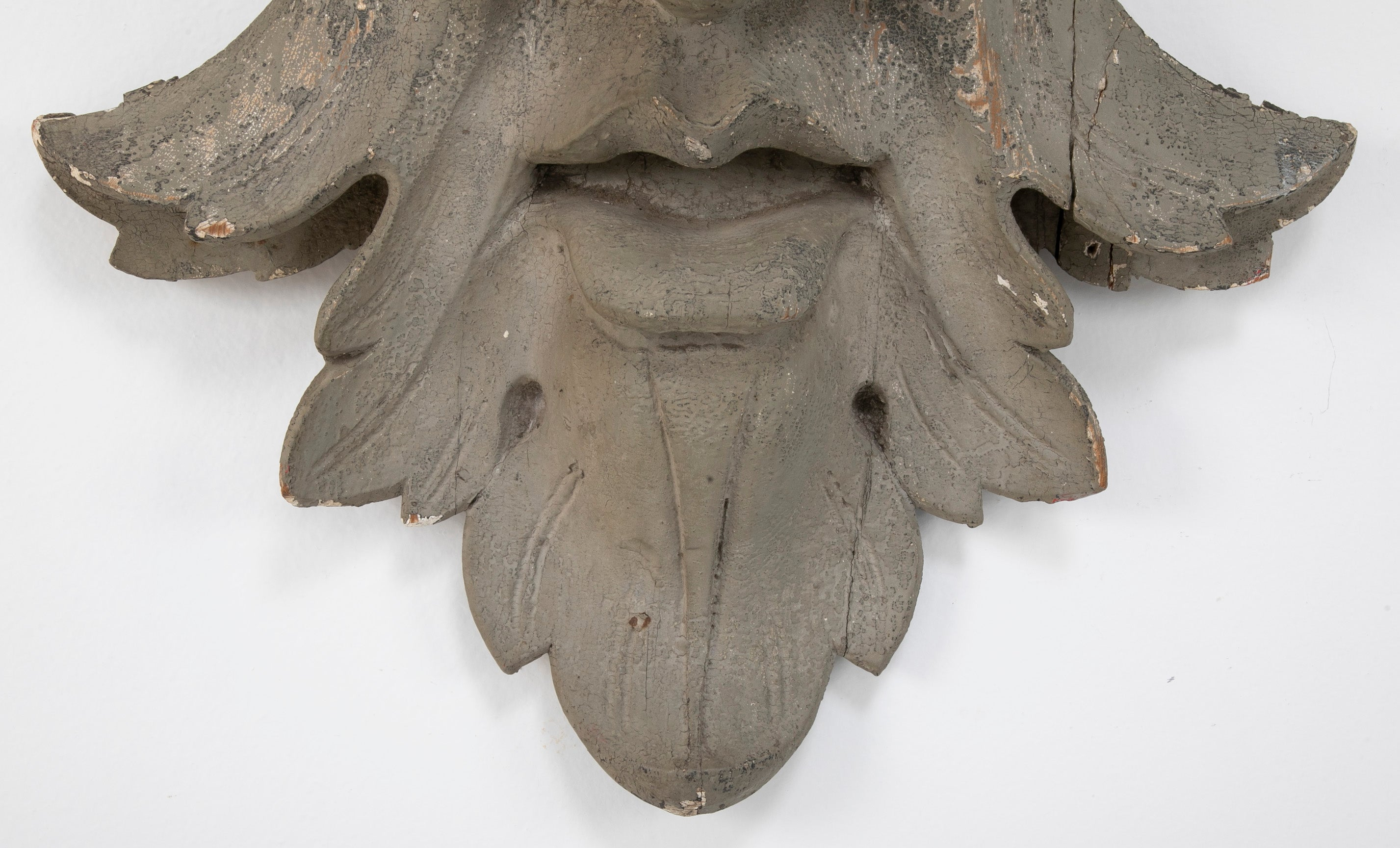 Carved and Painted Wood Architectural Element in the Form of a Mask