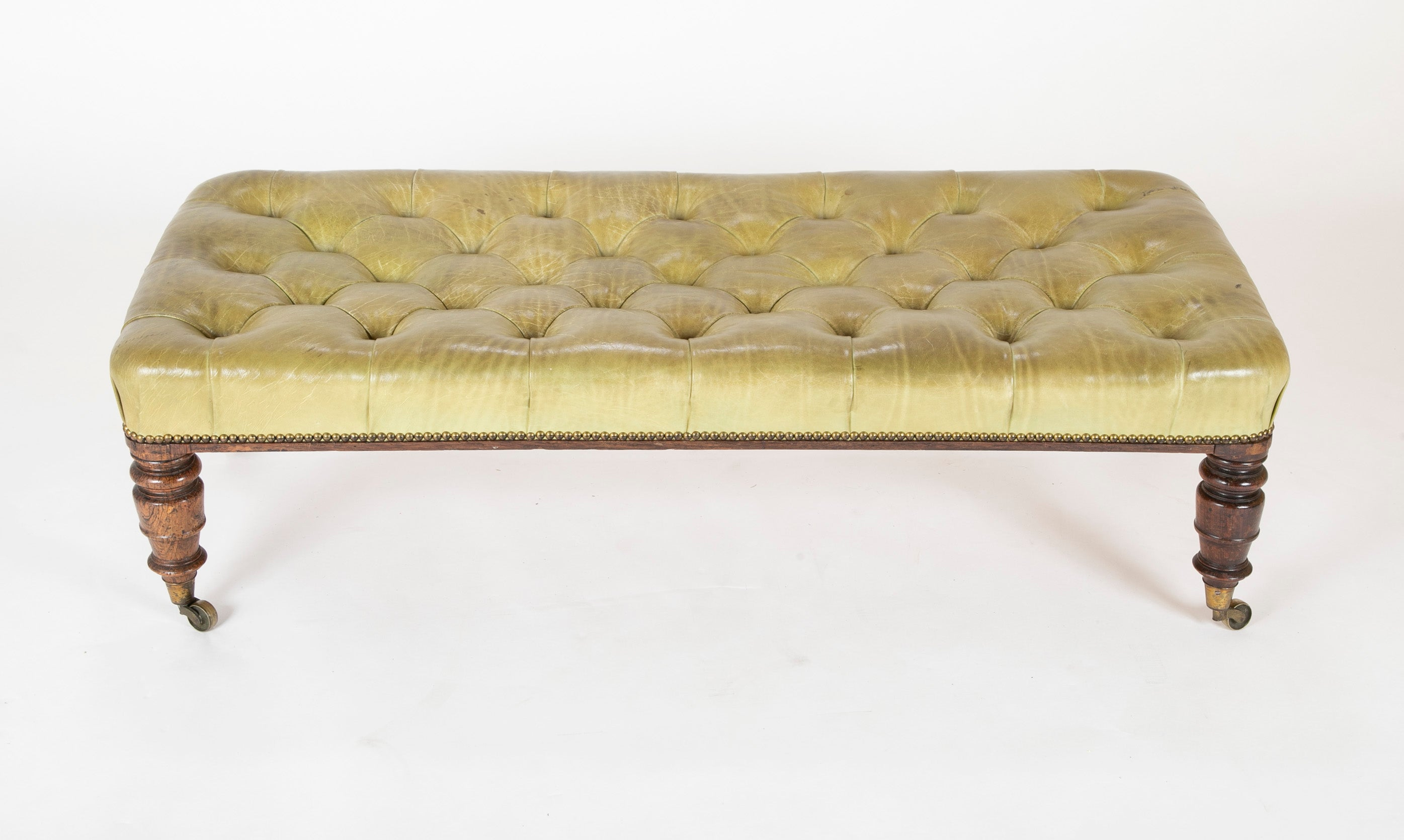English 19th Century Tufted Green Leather Bench