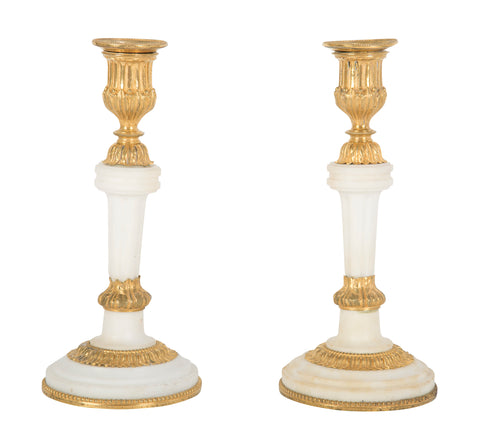 Pair of Louis XVI Style Ormolu Marble Candlesticks