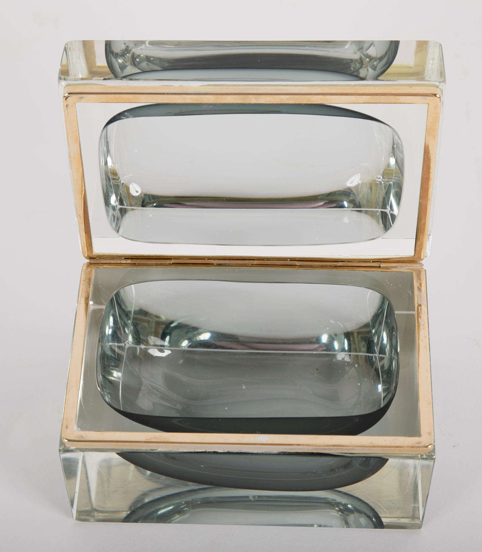 Vintage Murano Glass Gray to Clear Sommerso Box