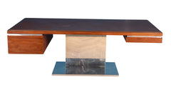 A Warren Platner Work Desk Aluminum and Teak
