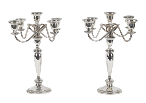 Pair of Poole Silver Co. Sterling Silver Candelabra