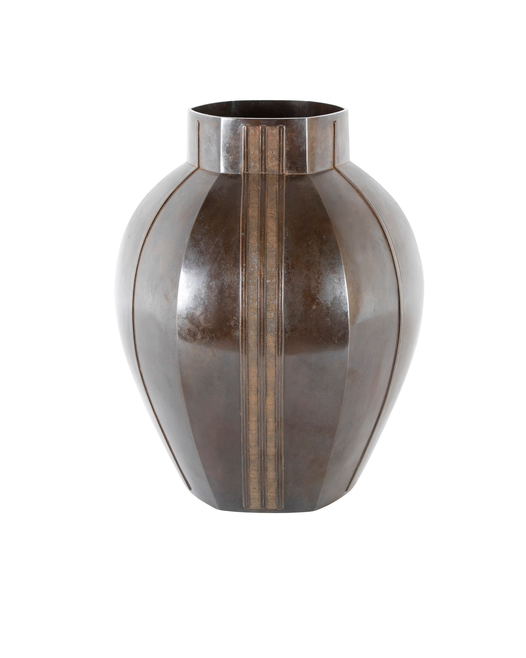 Large Bronze Six-Corned Flower Vase with Chain Pattern by Aida Tomiyasu