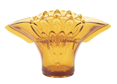 English Amber Art Deco Glass Bowl