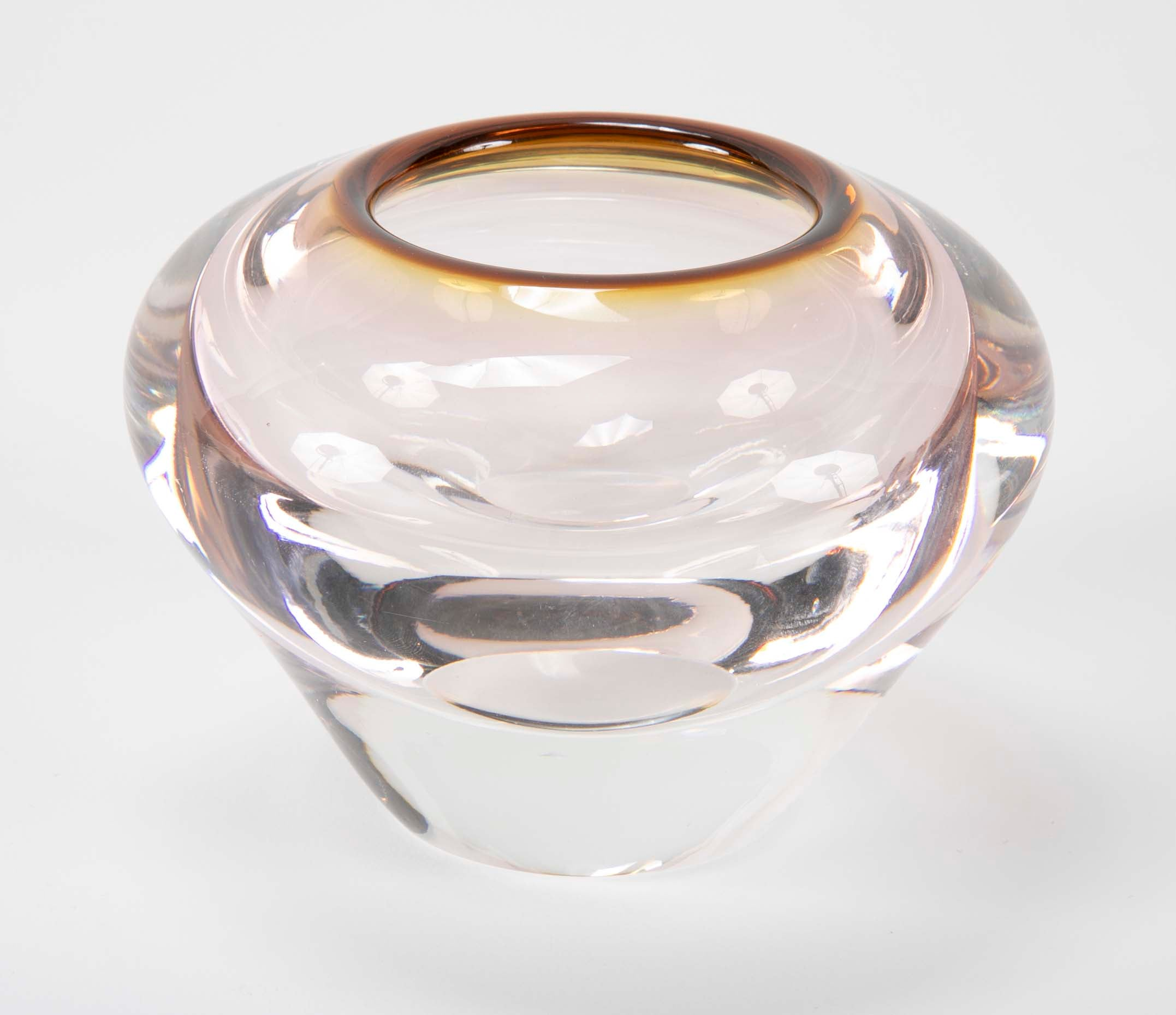 Small Venetian Glass Vase with Brown Edge