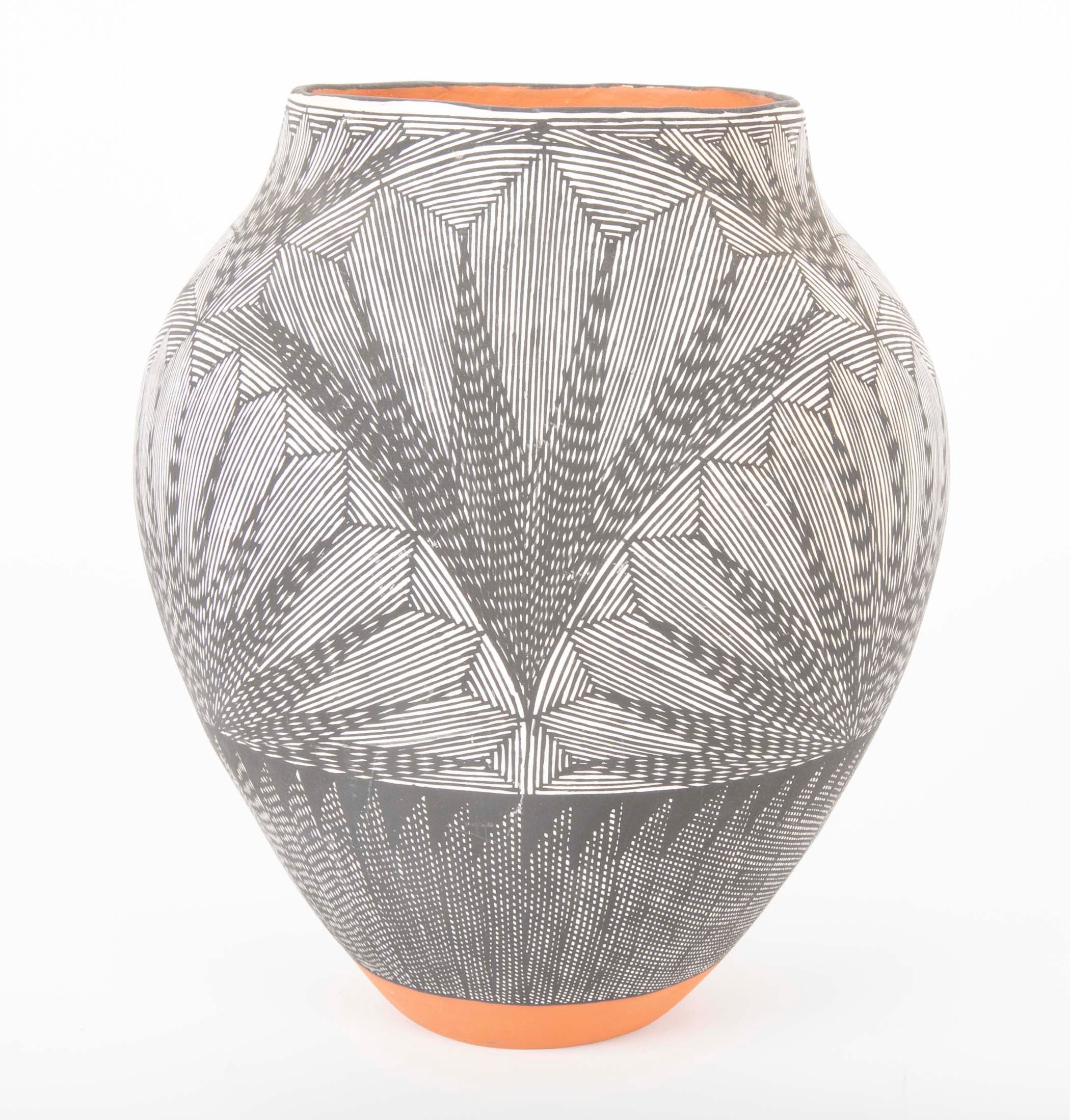 Acoma Vessel with Black and White Fine Line Design