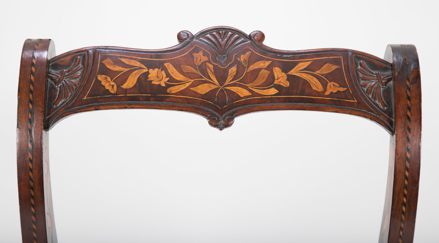 19th Century Dutch Marquetry Bench