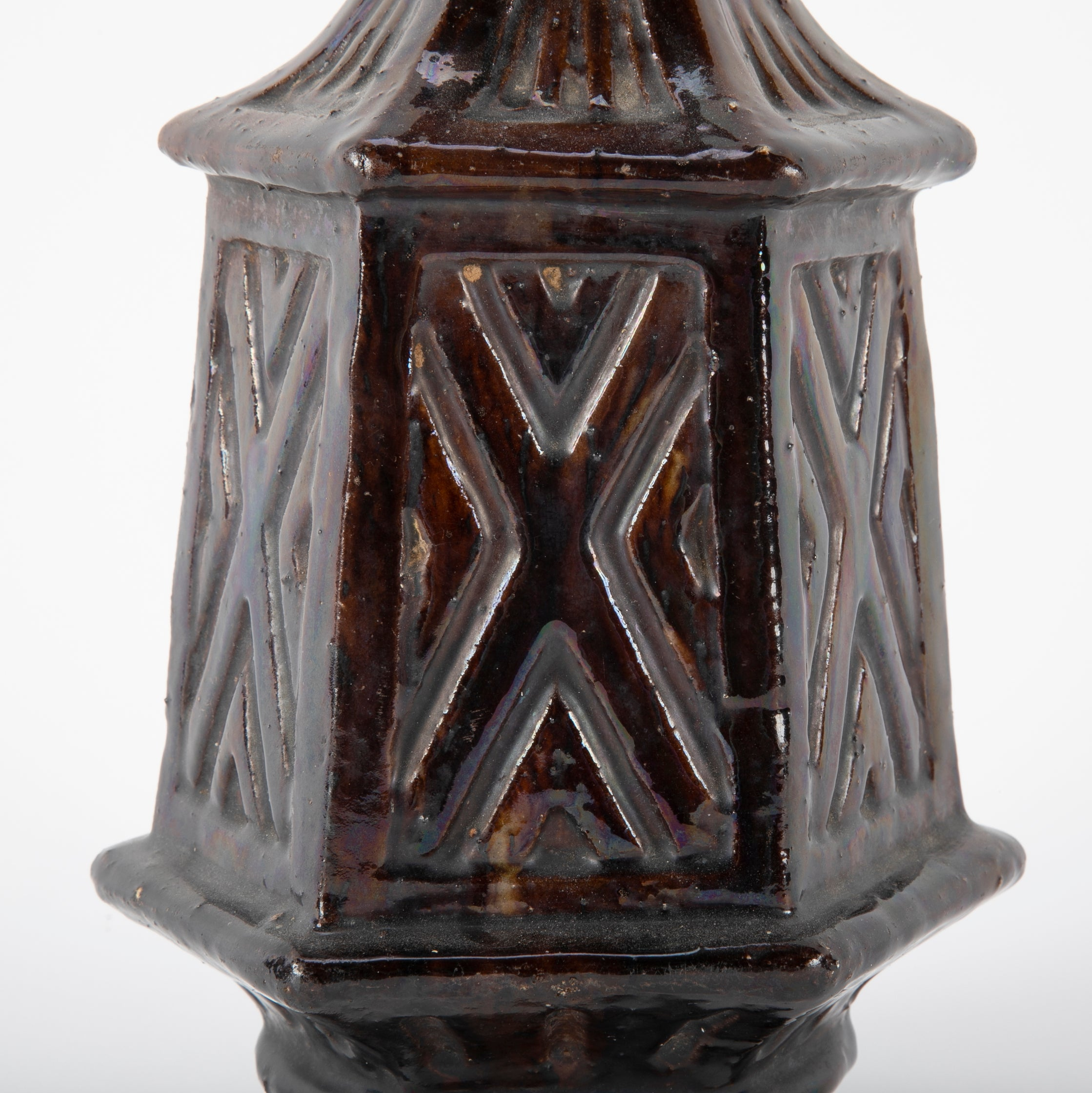 19th Century Turkish Glazed Jar of Unusual Geometric Form