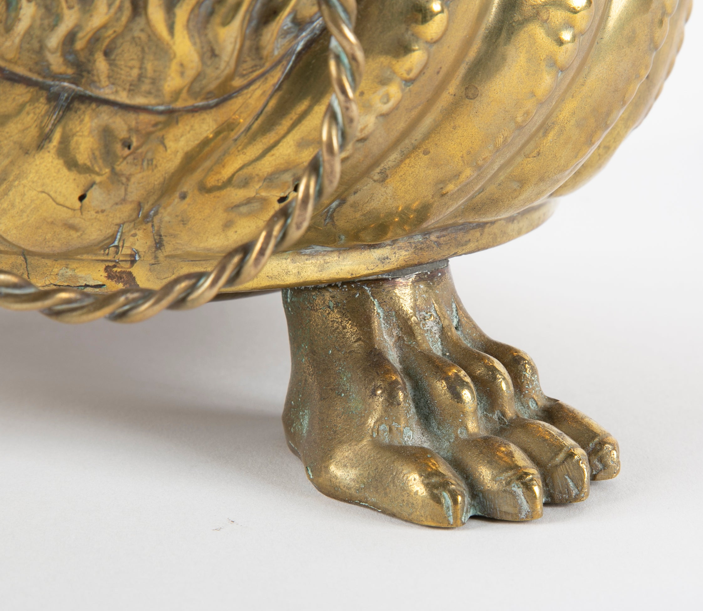 Pair of Dutch Brass Cachepots with Lion Head Handles and Paw Feet