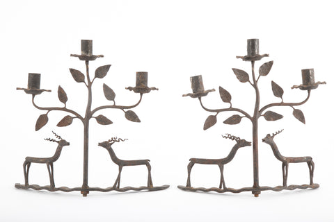 American Folk Art Candlesticks Depicting Deer