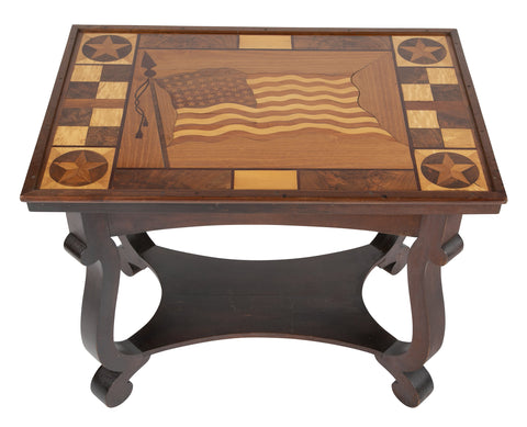Folk Art Inlaid Table with 48 Star American Flag