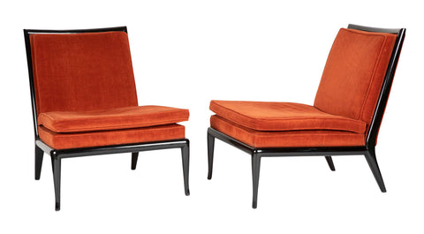 Pair of T.H Robsjohn- Gibbings Slipper Chairs for Widdicomb