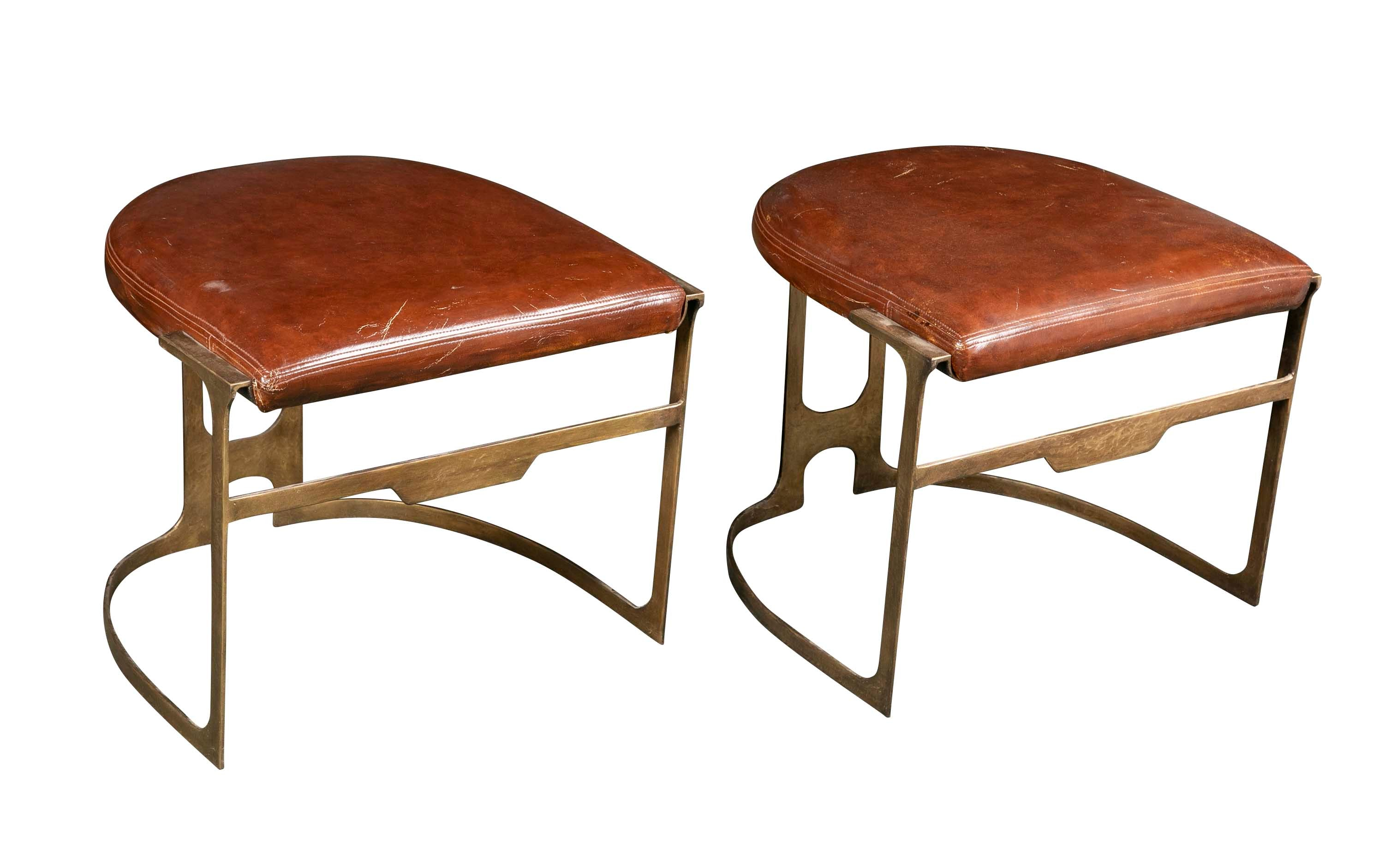 Pair of Contemporary Leather & Patinated Bronze Stools