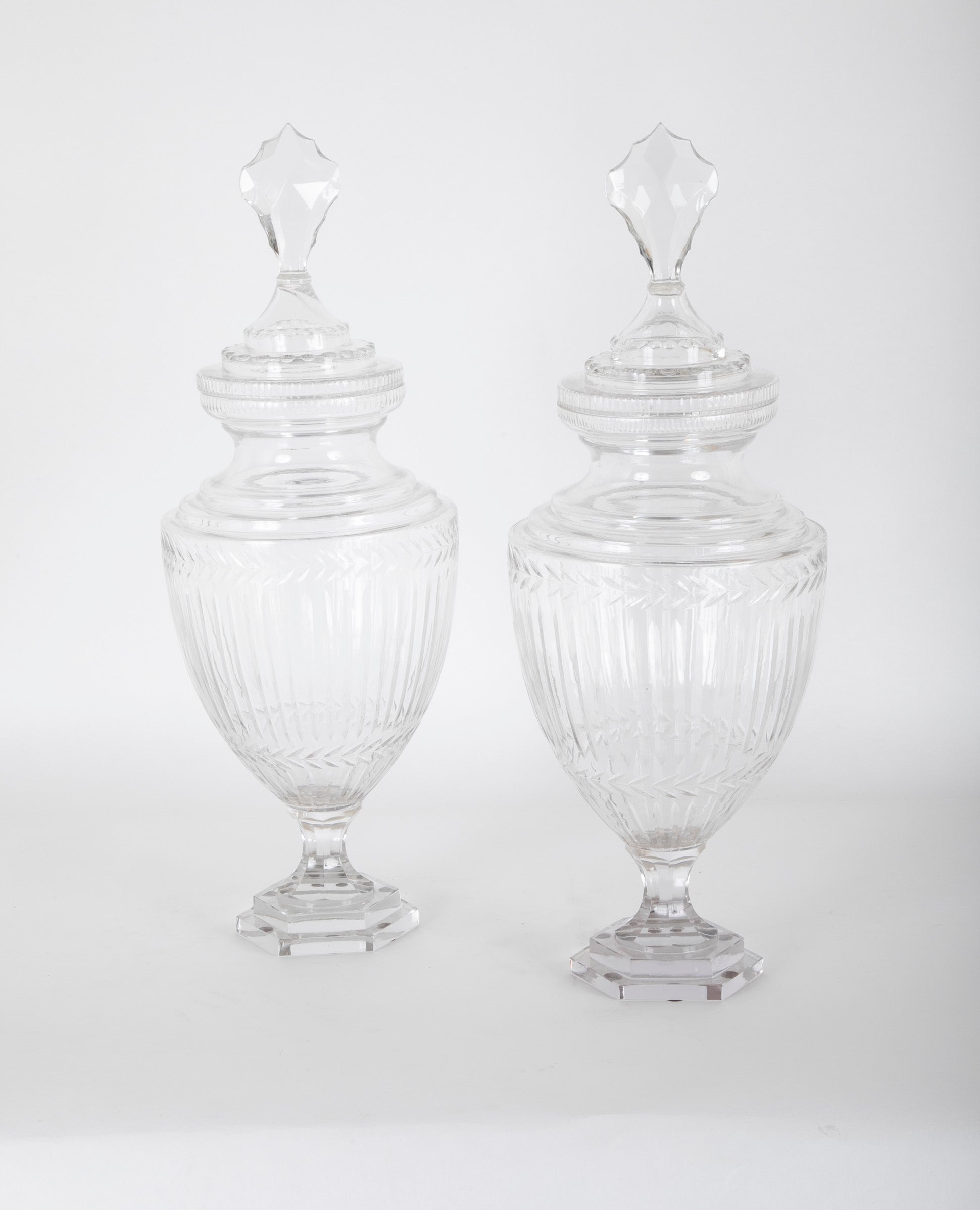 Three Very Large Apothecary Jars Possibly Baccarat