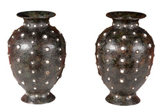 Pair of 19th Century Chinese Bronze & Enamel Studded Vases