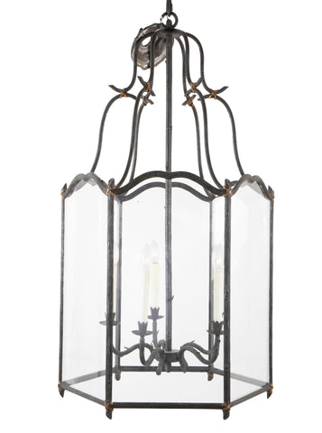 Naturalistic Grotto Form Hexagonal Lantern with Gilded Bow Knots