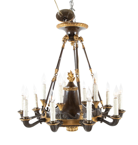 An English Regency Patinated & Gilt Bronze 15 Light Chandelier