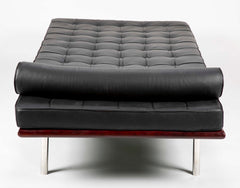 Pair of Black Leather Chaise Lounges in the Manner of Mies van der Rohe