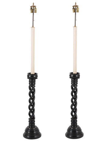 Pair Ebonized Candlesticks Mounted as Lamps