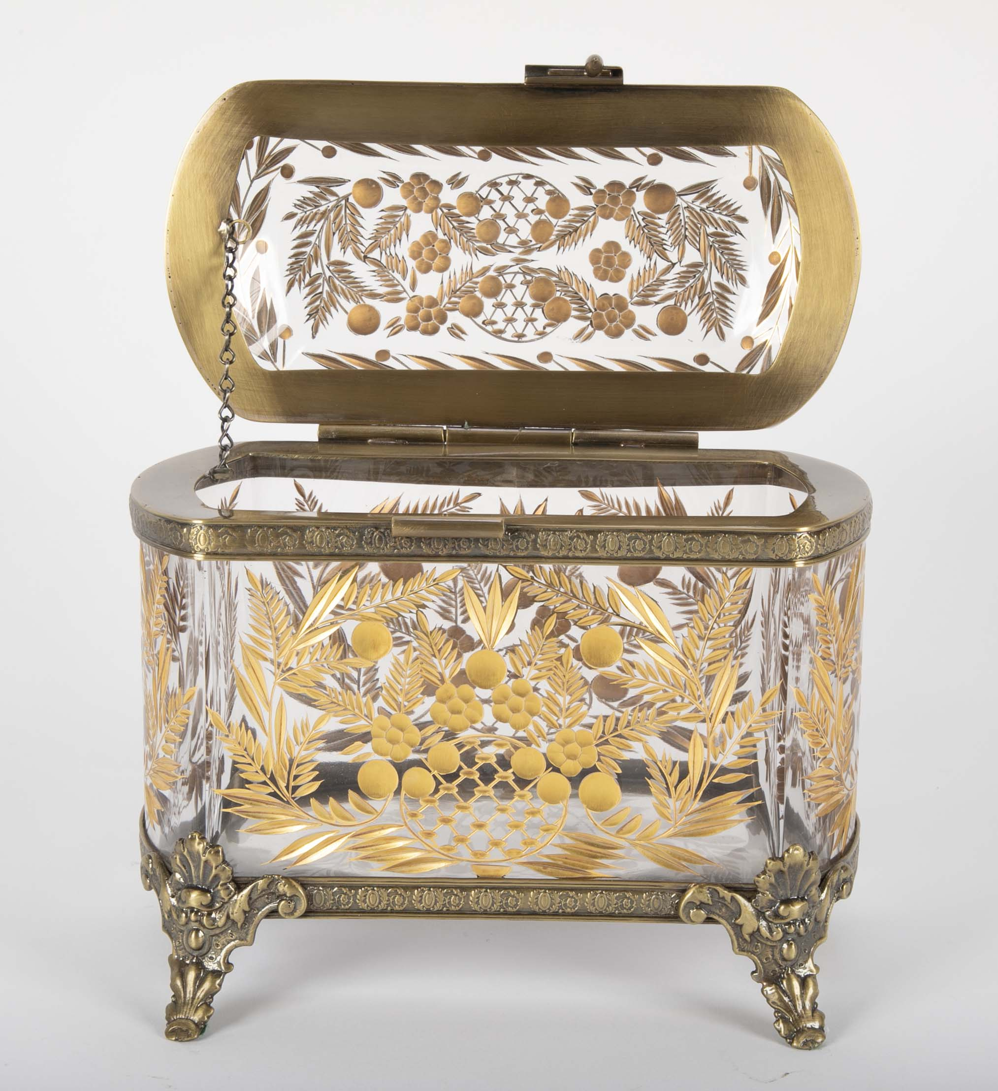 Bohemian Cut Crystal Box with 24 Carat Gilding & Bronze Mounts