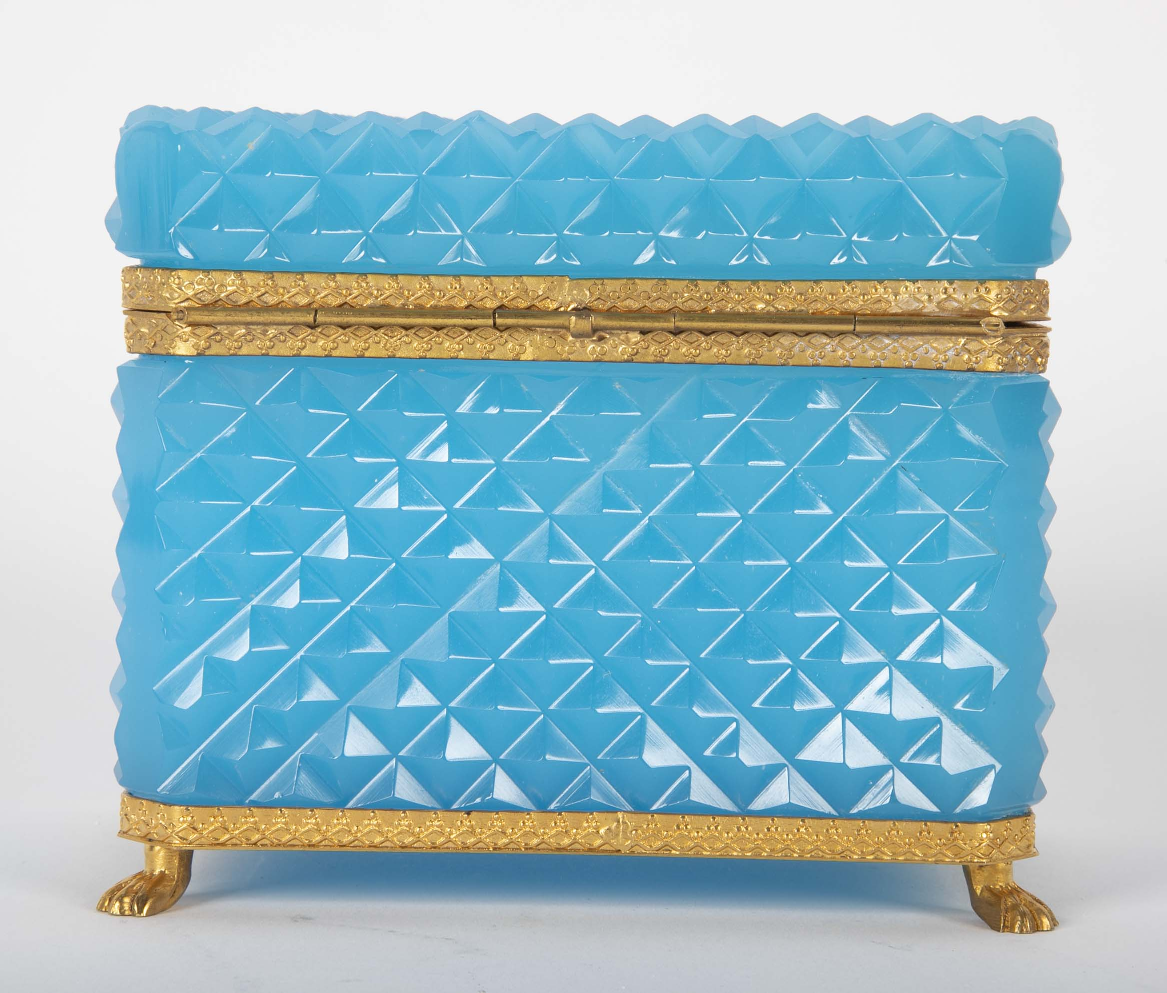 Brilliant French Turquoise Opaline Cut Glass Box