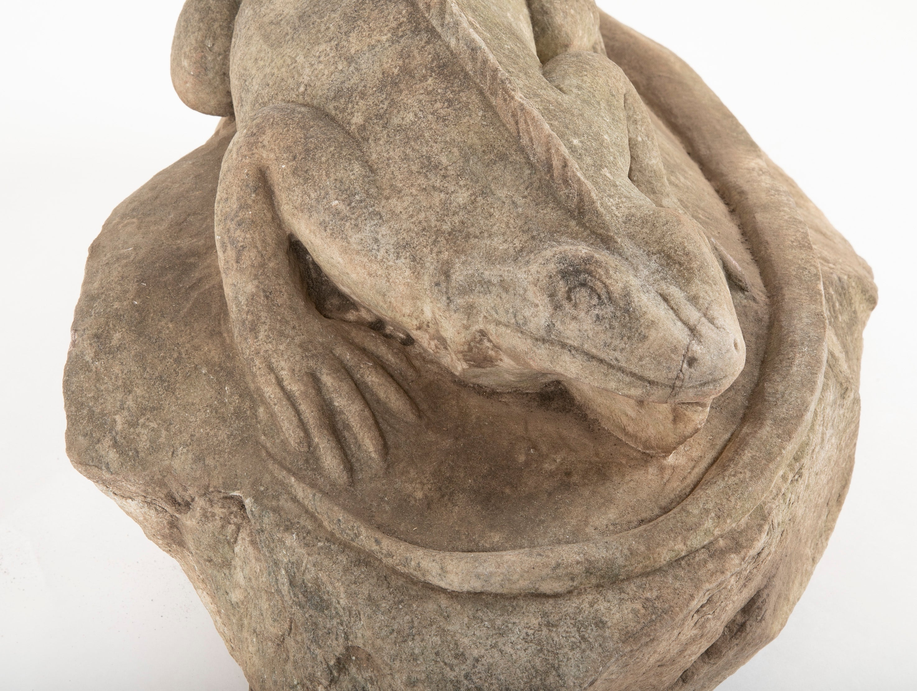 Free Carved Stone Iguana Perched on a Rock